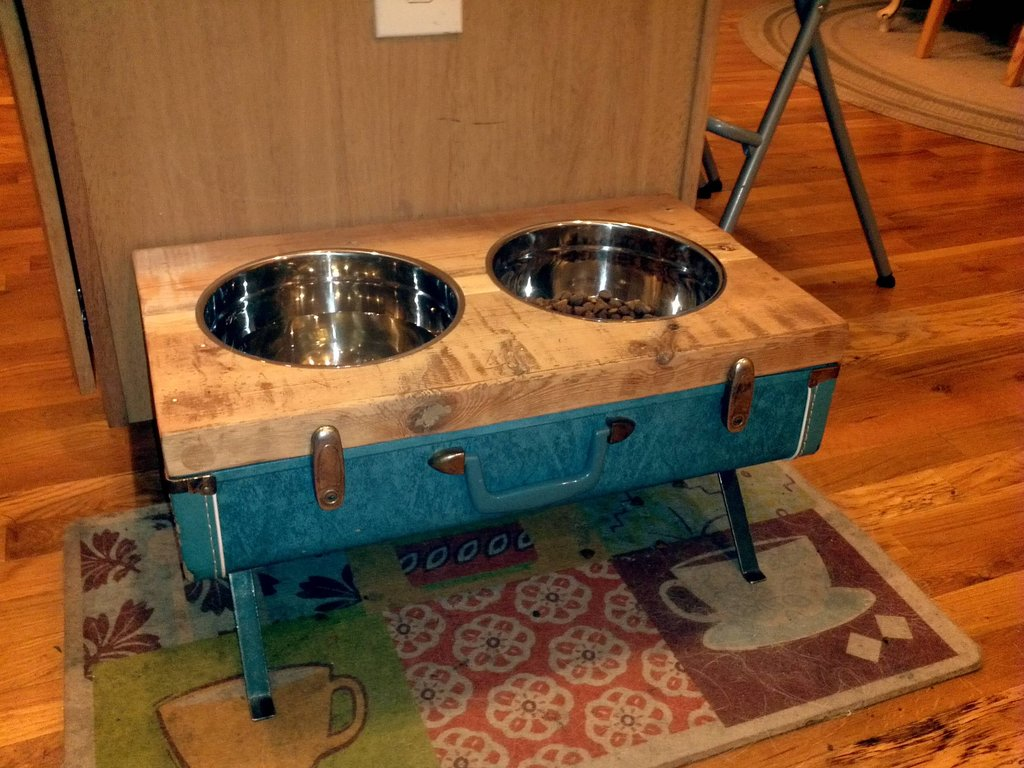 Do it yourself pet project diy raised dog bowls from vintage suitcase solutioingenieria Images